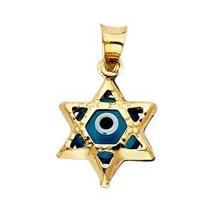 14K Yellow Gold  Evil Eye Star Pendant